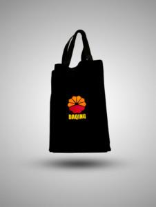 Tote Bag Kanvas Bordir Hitam Daqing